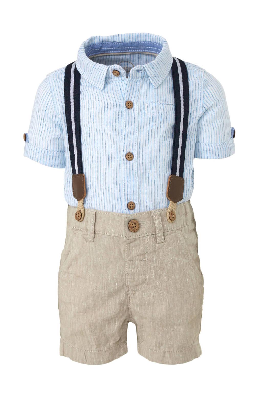 C&A Baby Club gestreept overhemd + short, Lichtblauw/wit/beige