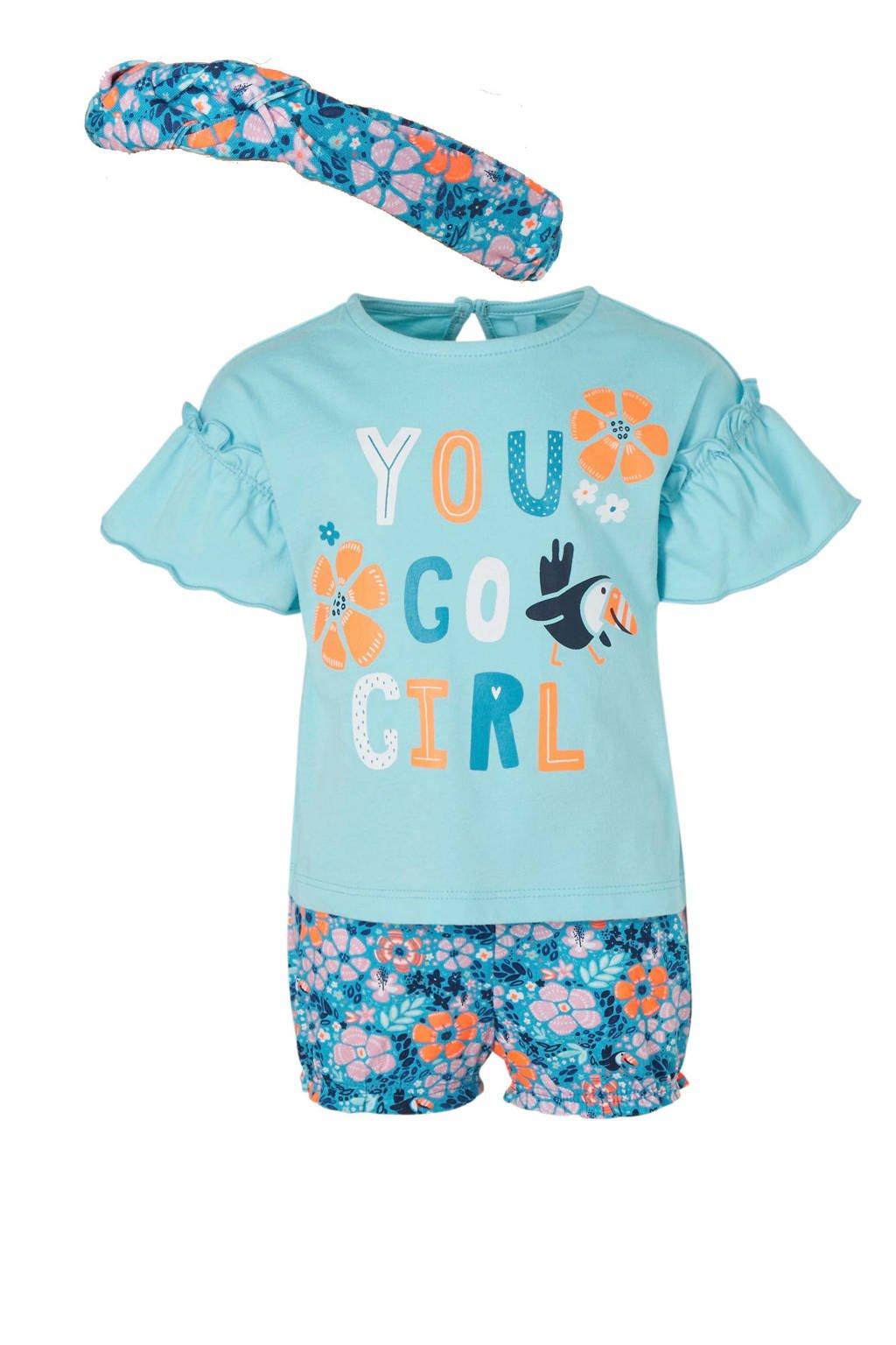 C&A Baby Club T-shirt + short + haarband, Blauw