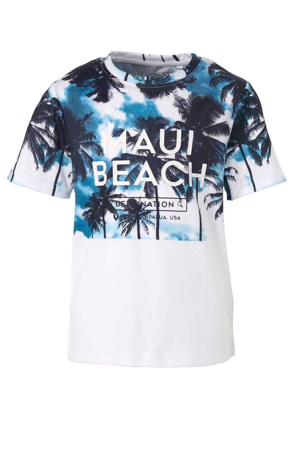 C&A Here & There T-shirt met palmbomen blauw, Blauw/wit
