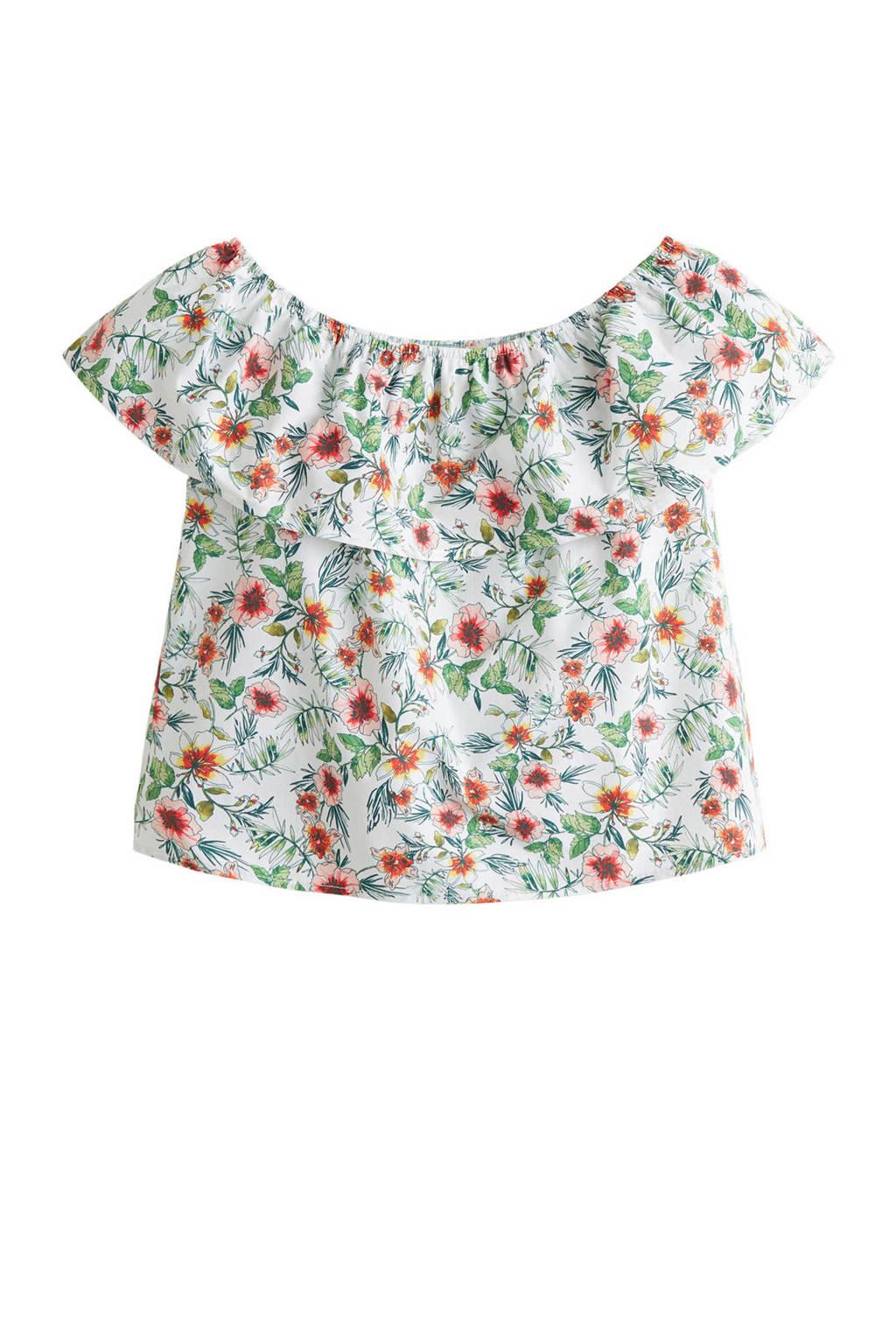 Mango Kids off shoulder top met bloemen wit, Wit/groen/rood