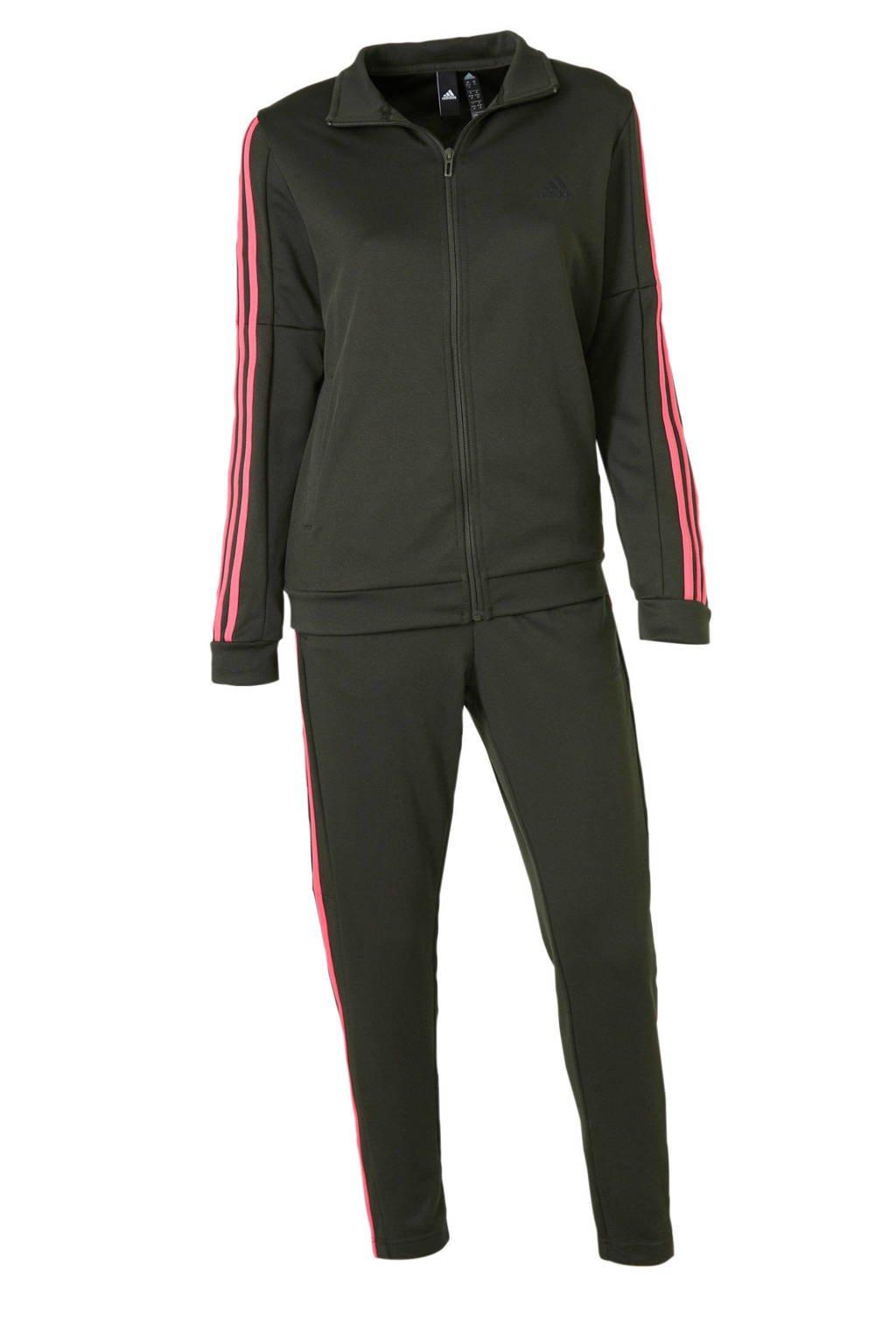 adidas performance trainingspak grijsgroen/roze, Grijsgroen/roze