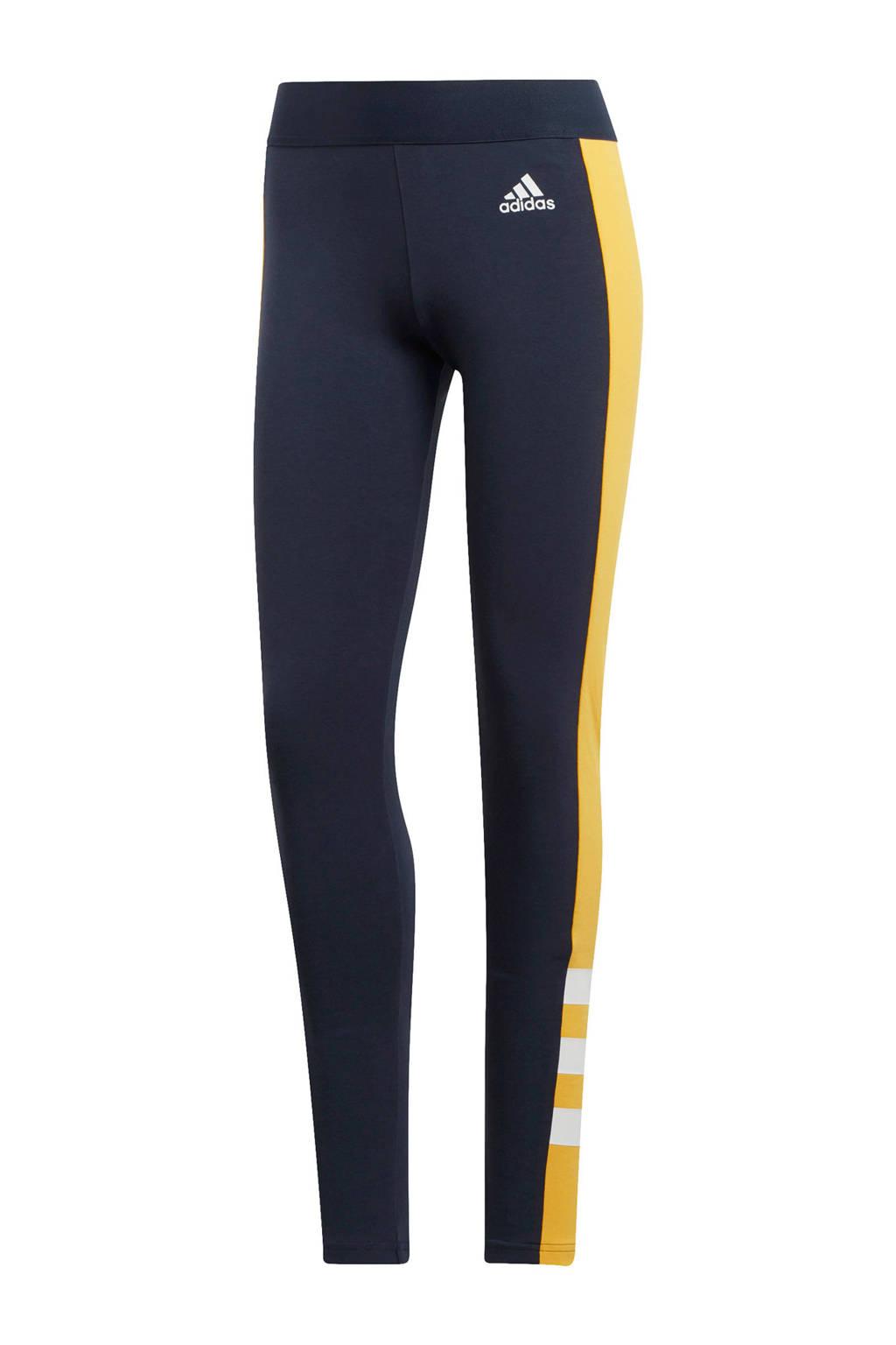 adidas performance sportbroek donkerblauw, Donkerblauw/geel