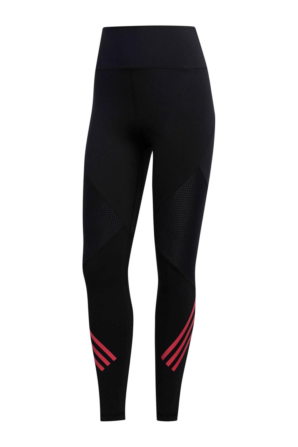 adidas performance sportlegging zwart/roze, Zwart/roze