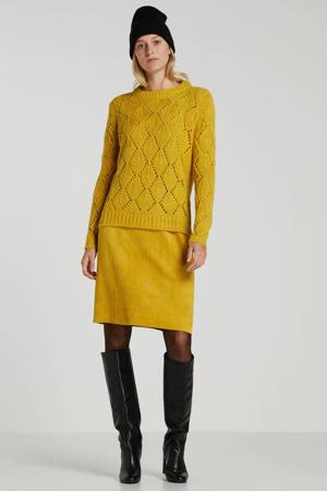 grofgebreide trui met wol geel