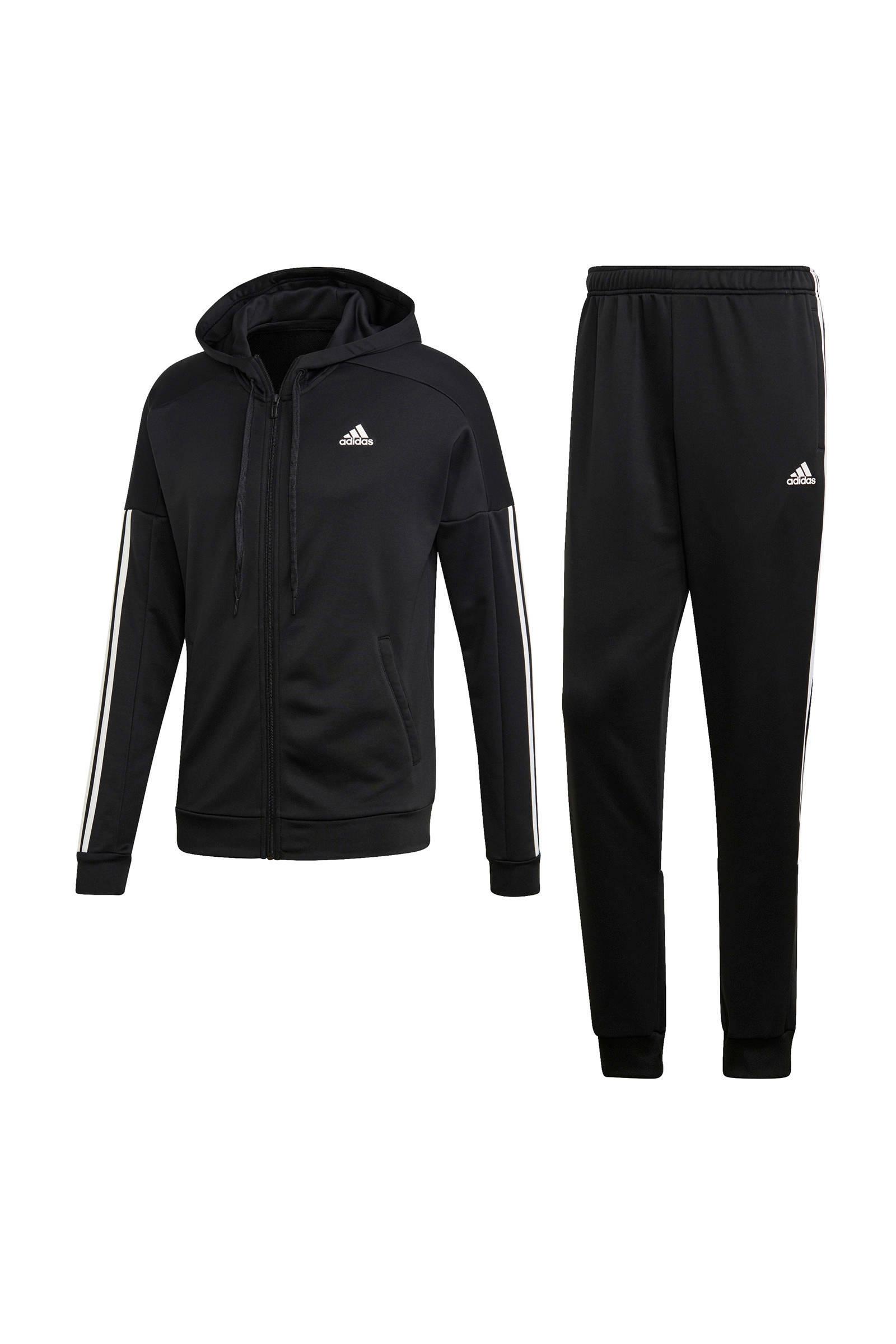 adidas performance trainingspak zwart/wit | wehkamp