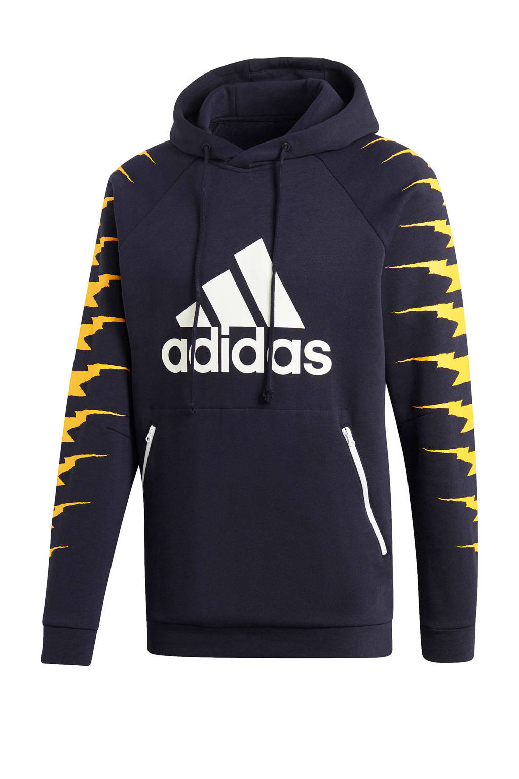 adidas performance   sportsweater donkerblauw, Donkerblauw/geel/wit