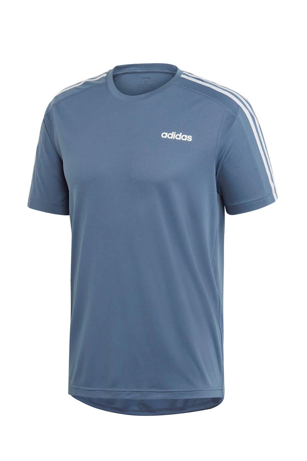 adidas performance   sport T-shirt grijsblauw, Grijsblauw/wit