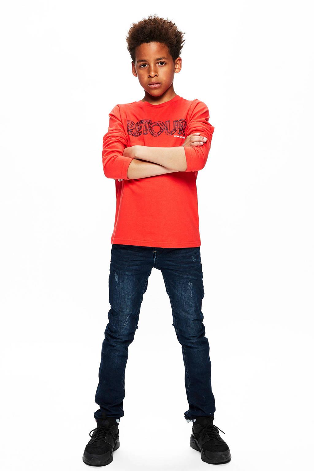 Retour Denim longsleeve Emilio met logo rood, Rood