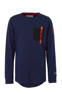 Retour Denim longsleeve Cornelio met tekst donkerblauw/rood, Donkerblauw/rood