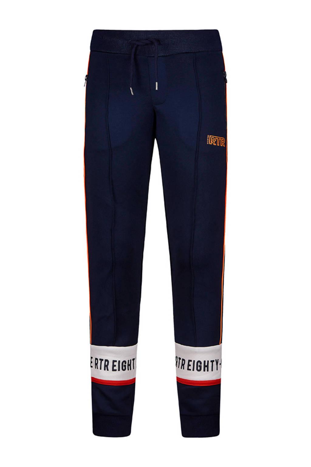 Retour Denim sweatpants Jackson met tekst en zijbies donkerblauw, Donkerblauw/wit