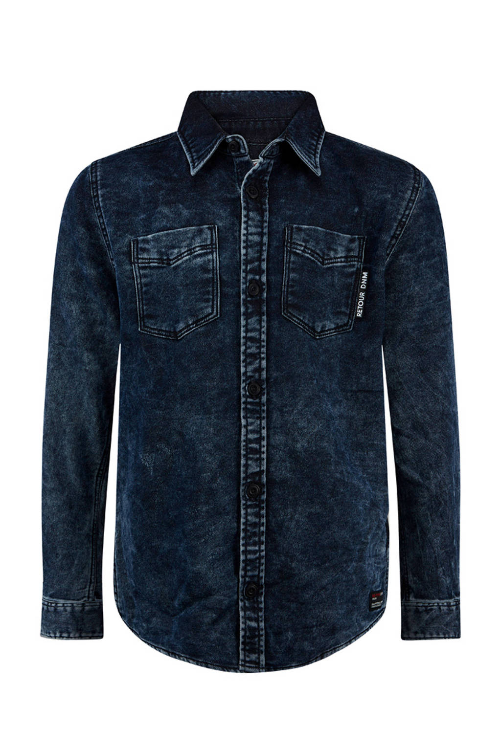 Retour Denim overhemd Sjors indigo blauw, Indigo blauw