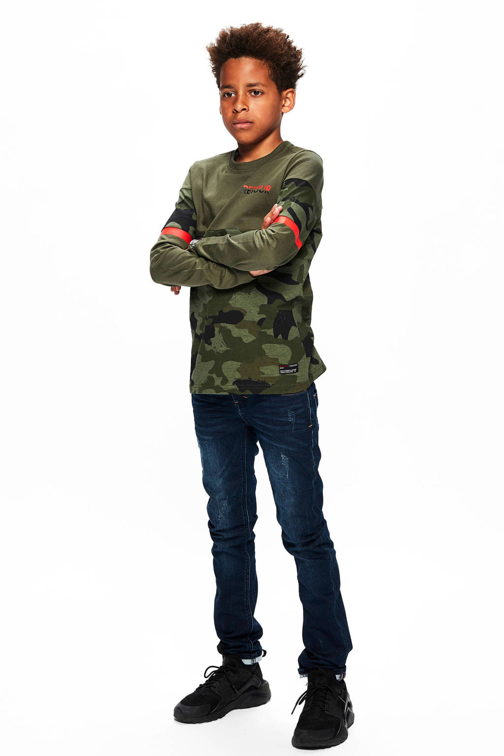 Retour Denim longsleeve Dennis met camouflageprint army groen/rood, Army groen/rood
