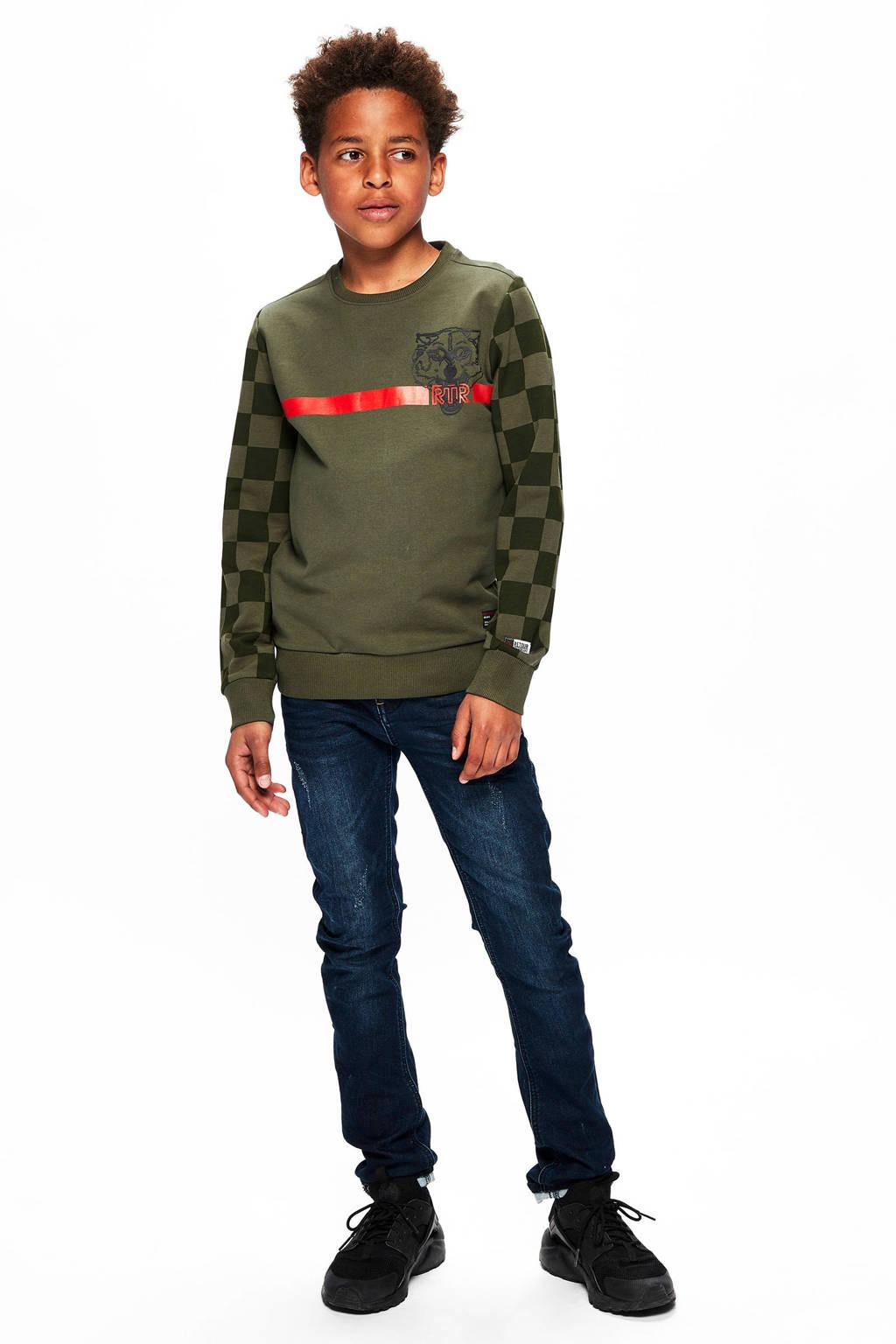 Retour Denim sweater Mark met printopdruk army groen, Army groen