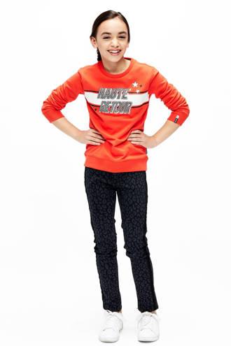 skinny broek Tessa met panterprint zwart