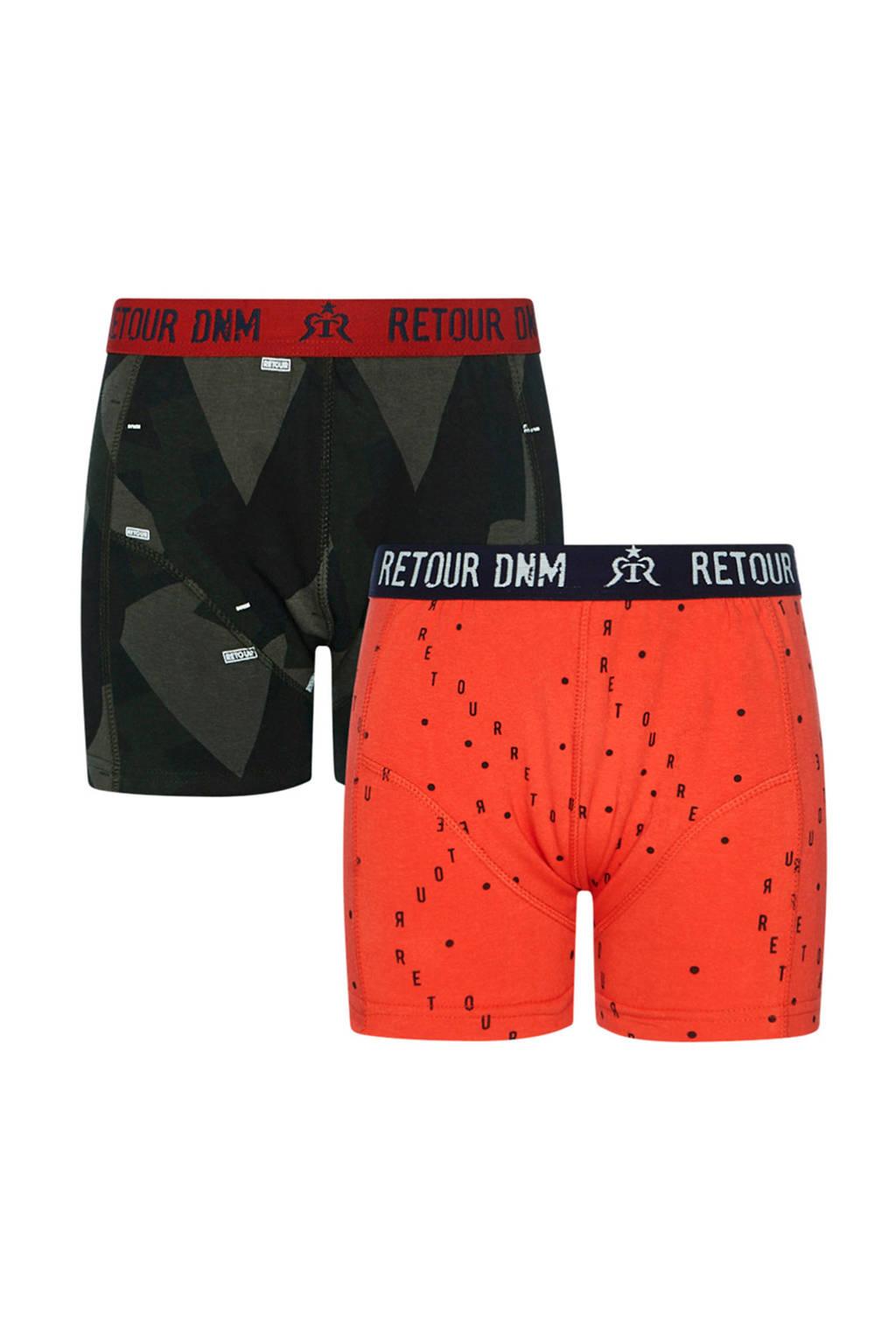 Retour Denim   boxershort Seth - set van 2 rood/groen, Rood/groen