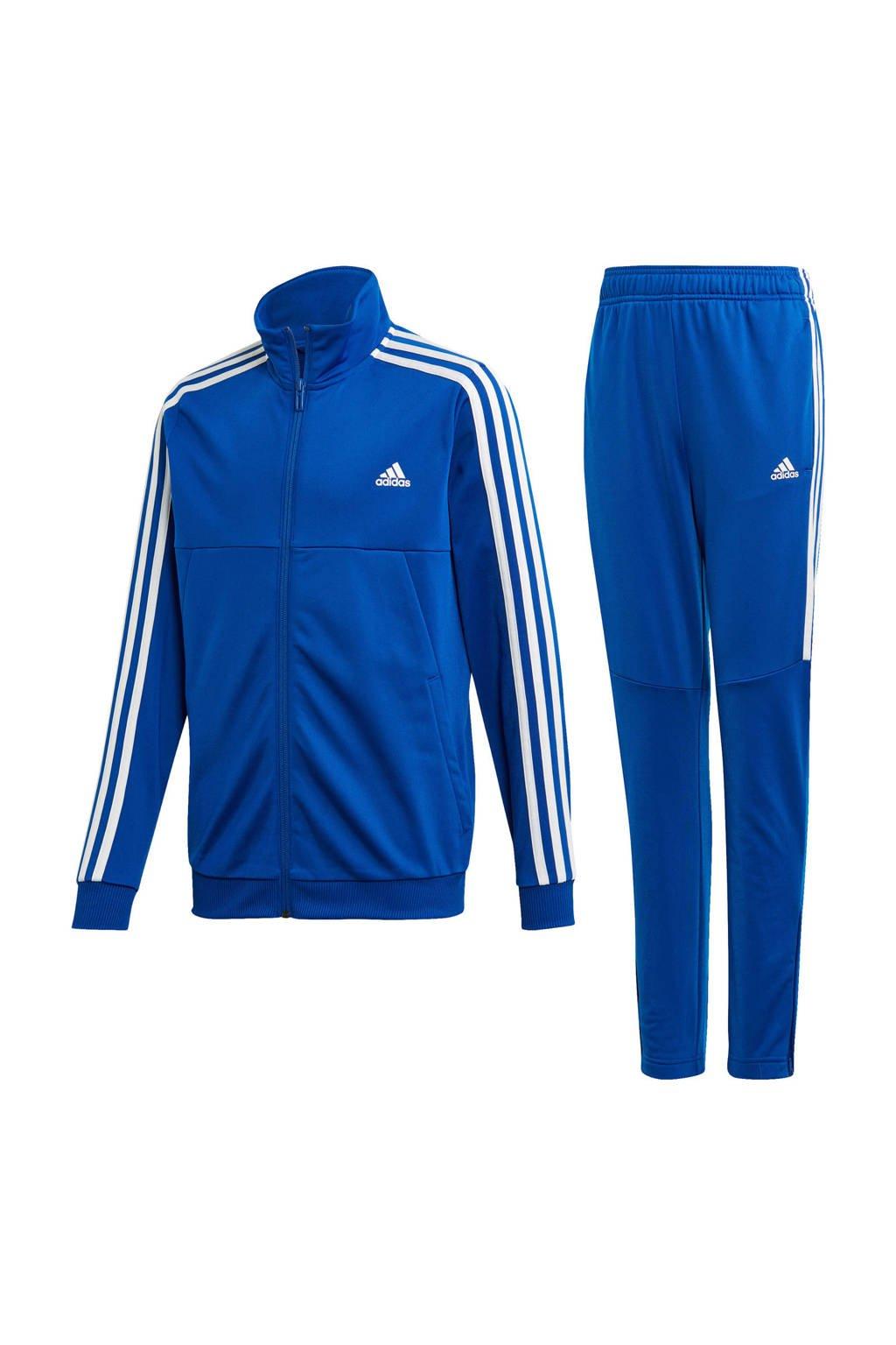 adidas   trainingspak blauw, Blauw/wit