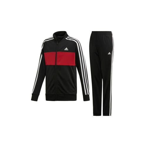 Adidas Trainingspak voor jongens van Adidas, logo op de borst, zwart met 3 witte lijnen