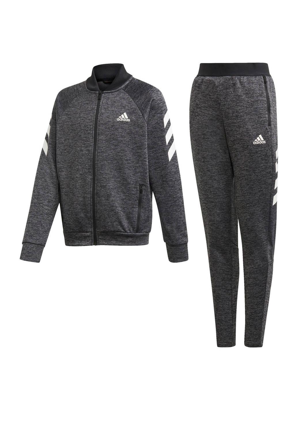 adidas performance   trainingspak zwart melange/wit