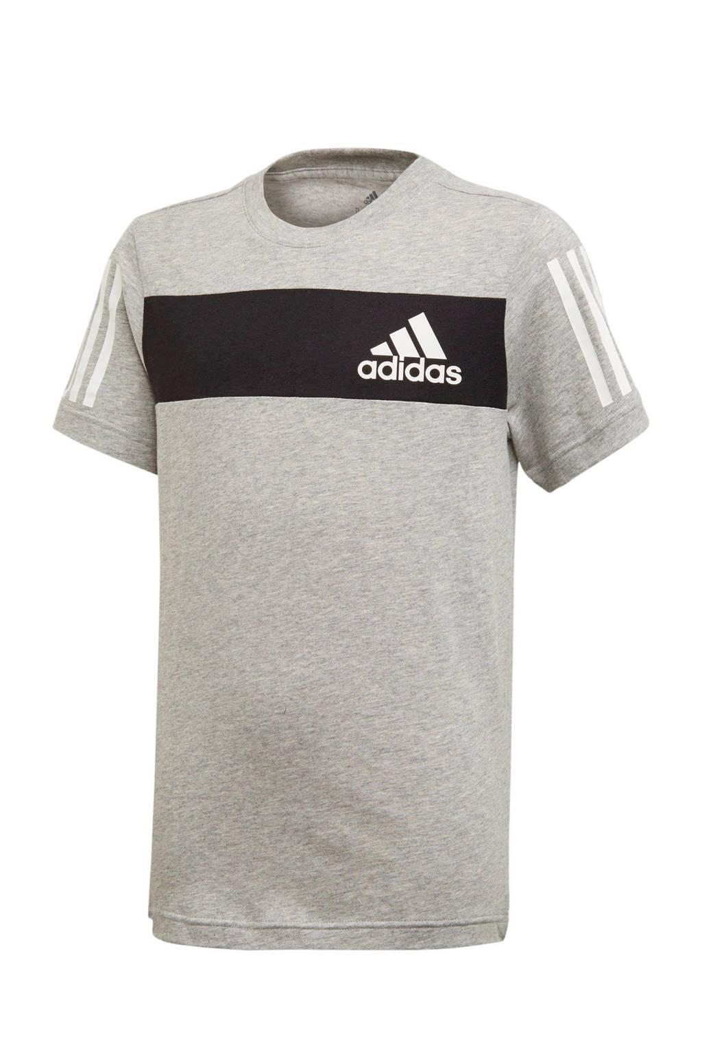 adidas   sport T-shirt grijs melange, Grijs melange/zwart