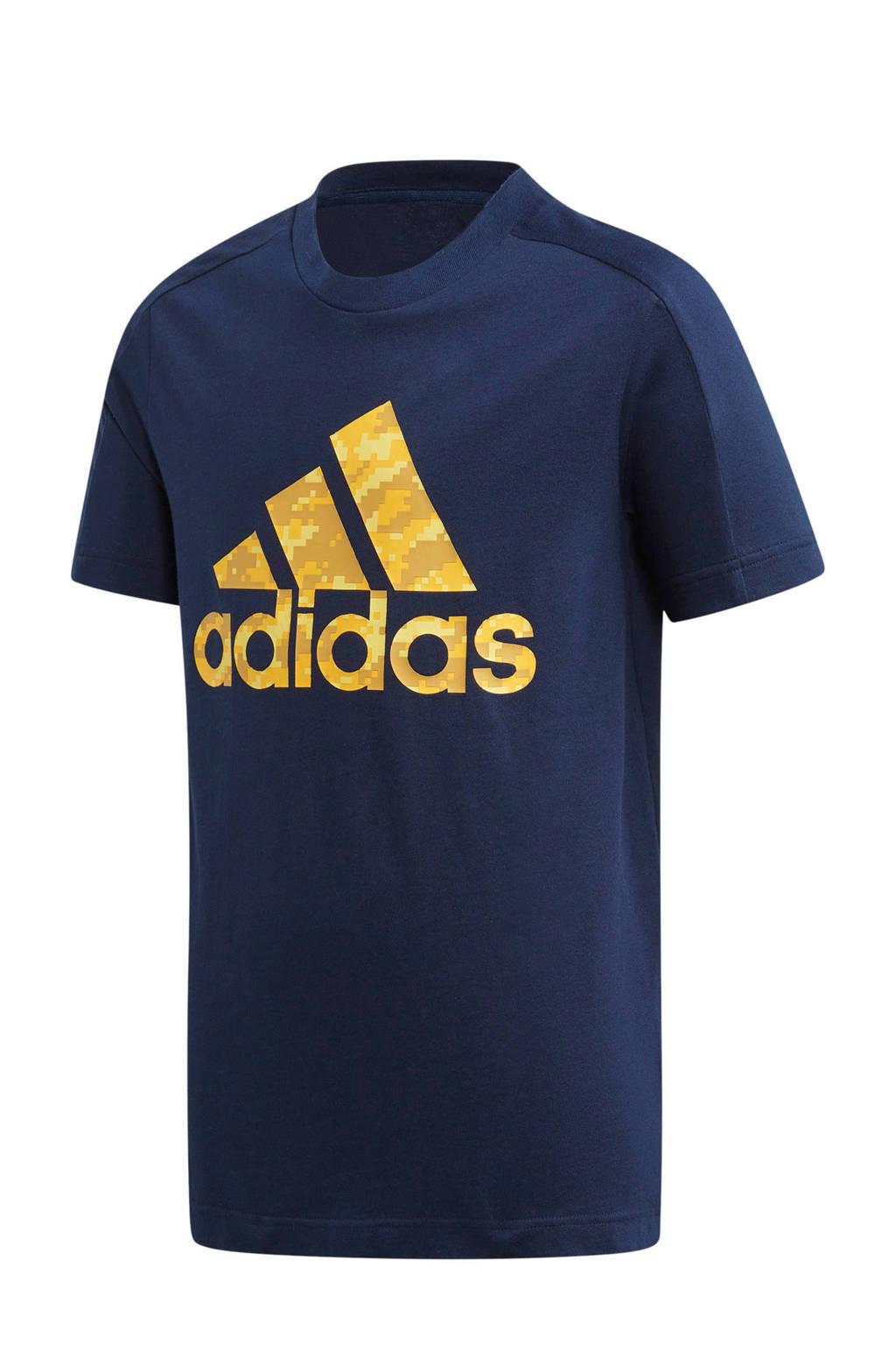 adidas   sport T-shirt donkerblauw, Donkerblauw/geel