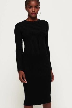 ribgebreide jersey jurk zwart