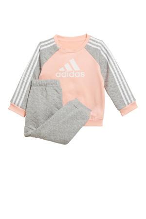 fleece joggingpak roze/grijs