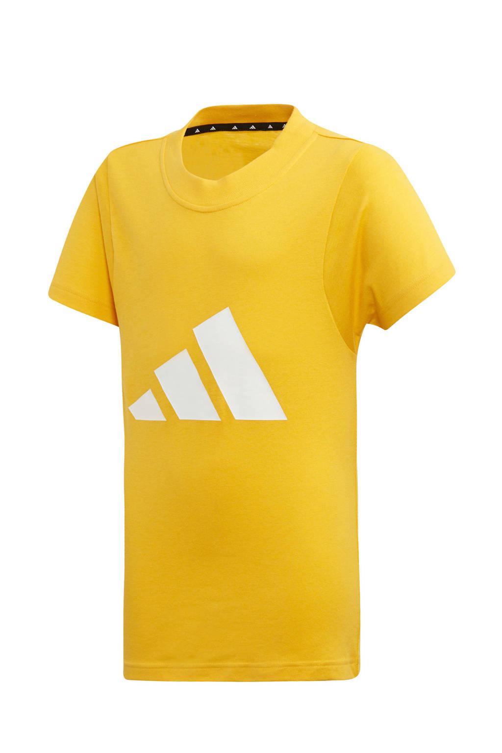 adidas sport T-shirt geel, Geel/wit/rood