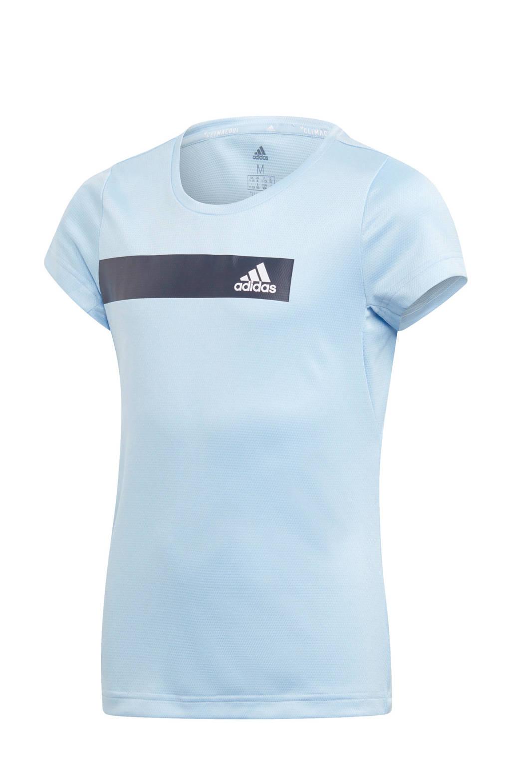 adidas sport T-shirt  lichtblauw, Lichtblauw/donkerblauw