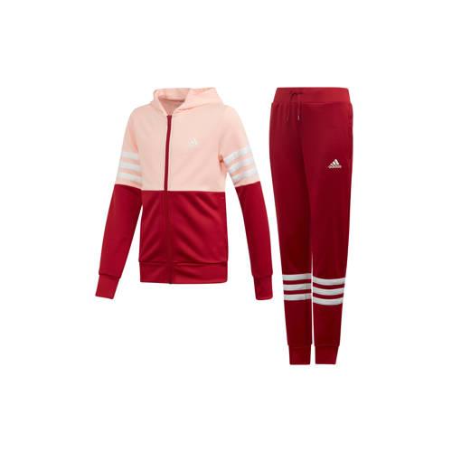 Adidas Trainingspak met kap voor meisjes, roze met Adidas-logo op de borst