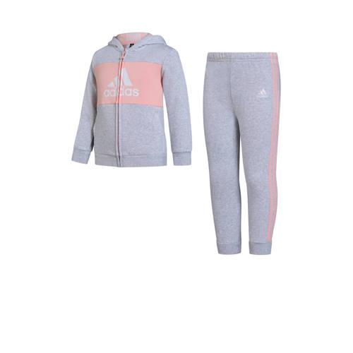adidas performance joggingpak grijs-roze