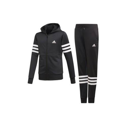 Adidas Trainingspak met kap voor meisjes, zwart met Adidas-logo op de borst
