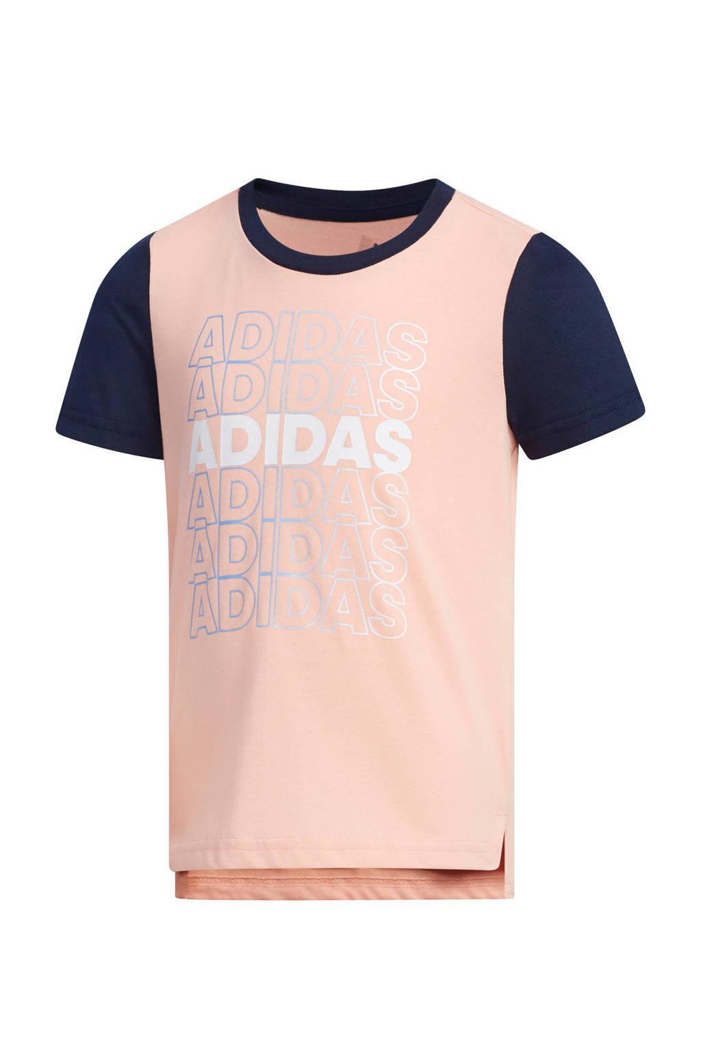 adidas sport T-shirt roze, Roze/donkerblauw