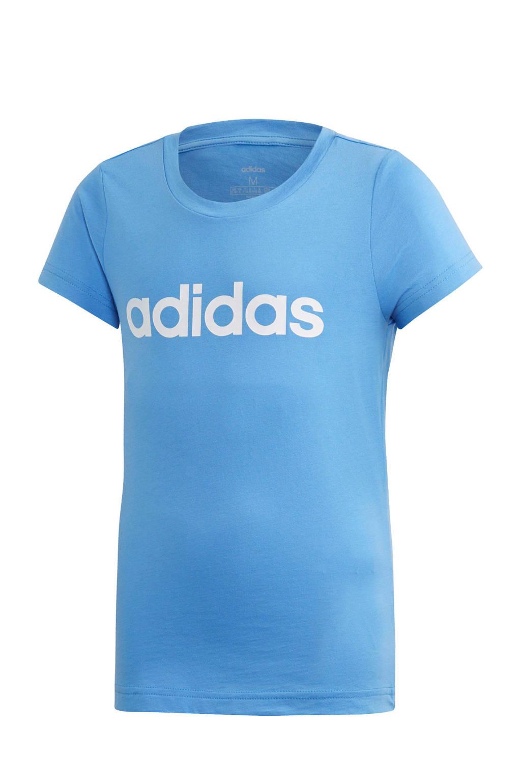 adidas sport T-shirt lichtblauw, Lichtblauw/wit
