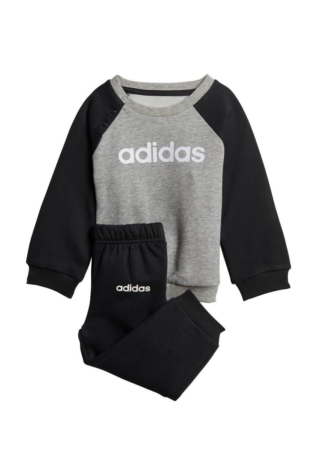 adidas   joggingpak grijs/zwart, Grijs melange/zwart