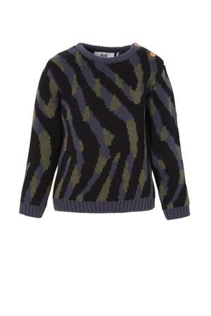 trui met zebraprint donkerblauw/zwart
