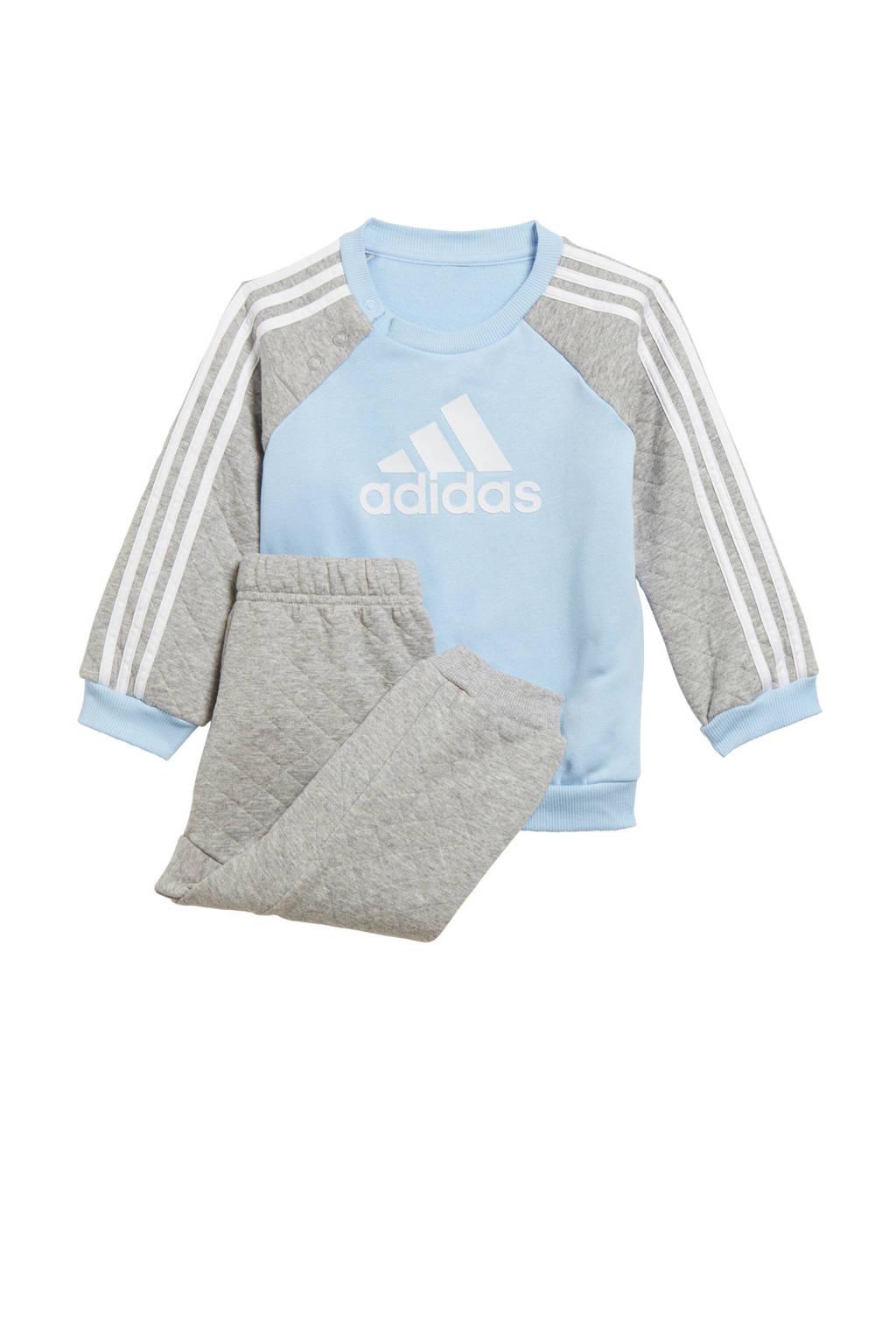 adidas performance   fleece joggingpak lichtblauw/grijs, Lichtblauw/grijs melange/wit