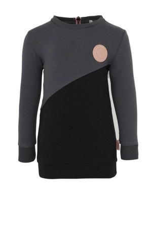 jersey jurk antraciet/zwart/ roze