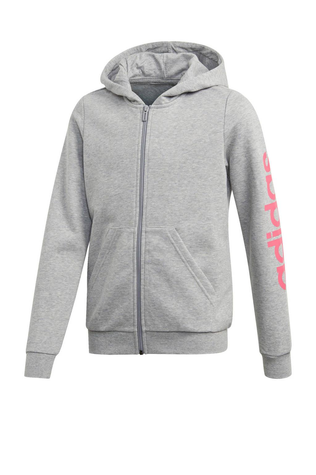 adidas sportvest grijs melange, Grijs melange/roze