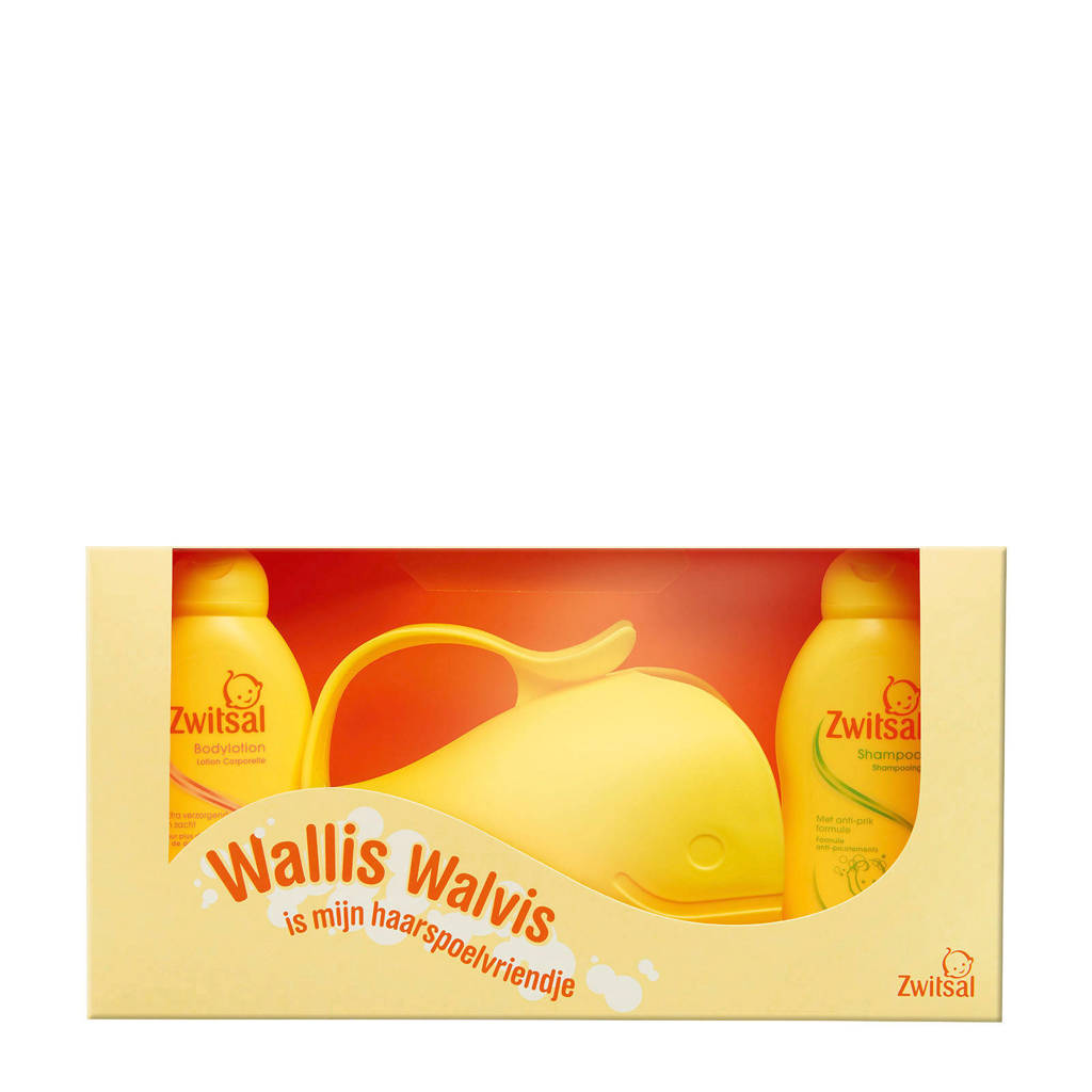 Zwitsal kraamcadeau met Wallis Walvis haarspoeler (3-delig)