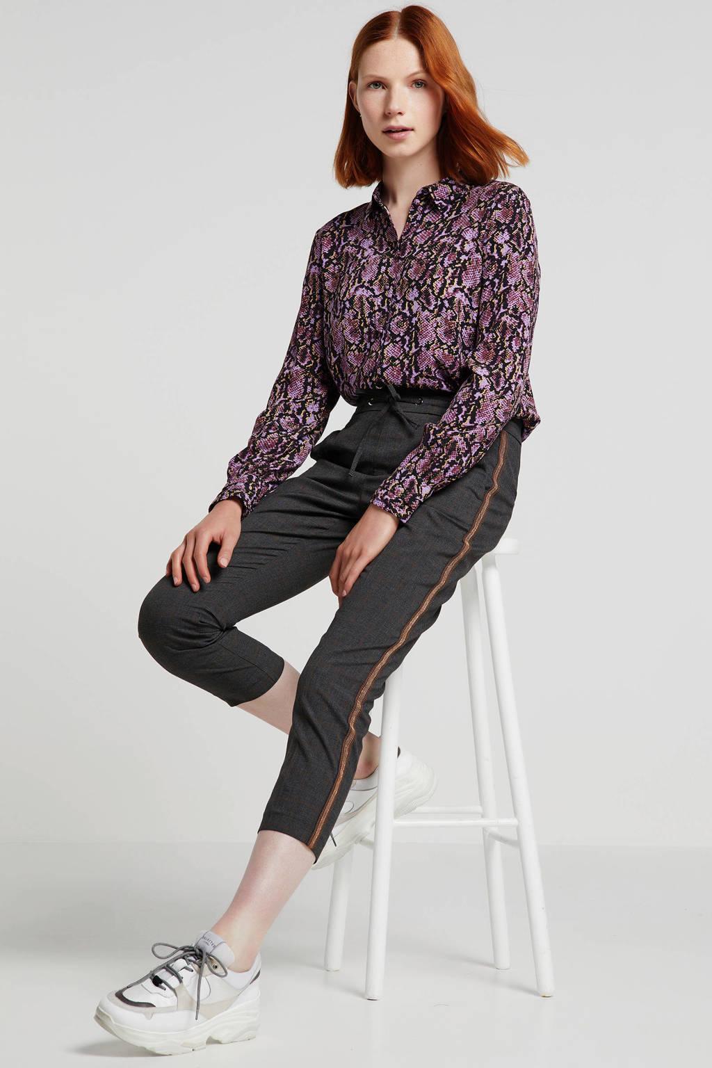 Modström blouse Solero met panterprint paars/roze/zwart, Paars/roze/zwart
