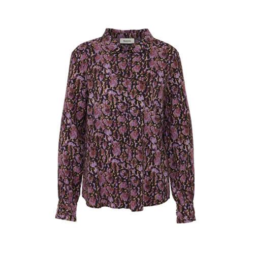 Modstr??m blouse Solero met panterprint paars/roze