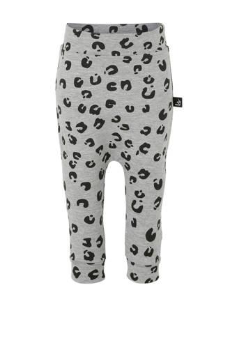 broek met panterprint grijs