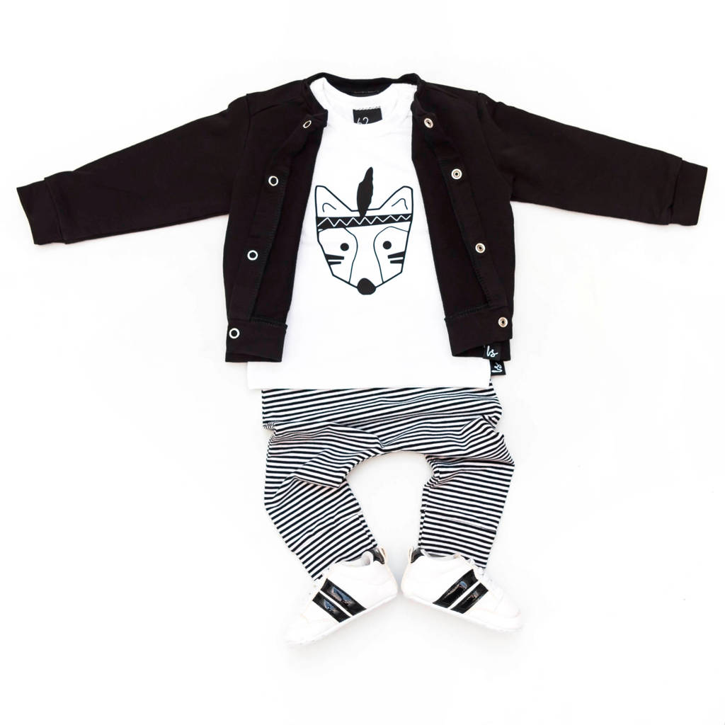 Babystyling gestreepte broek zwart/wit, Zwart/wit