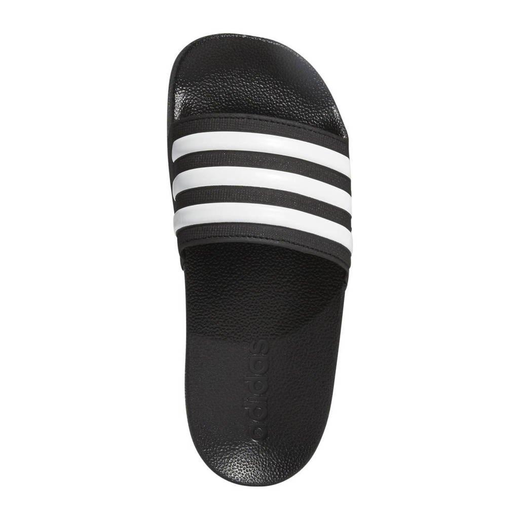 adidas   adilette shower badslippers zwart/wit, Zwart/wit