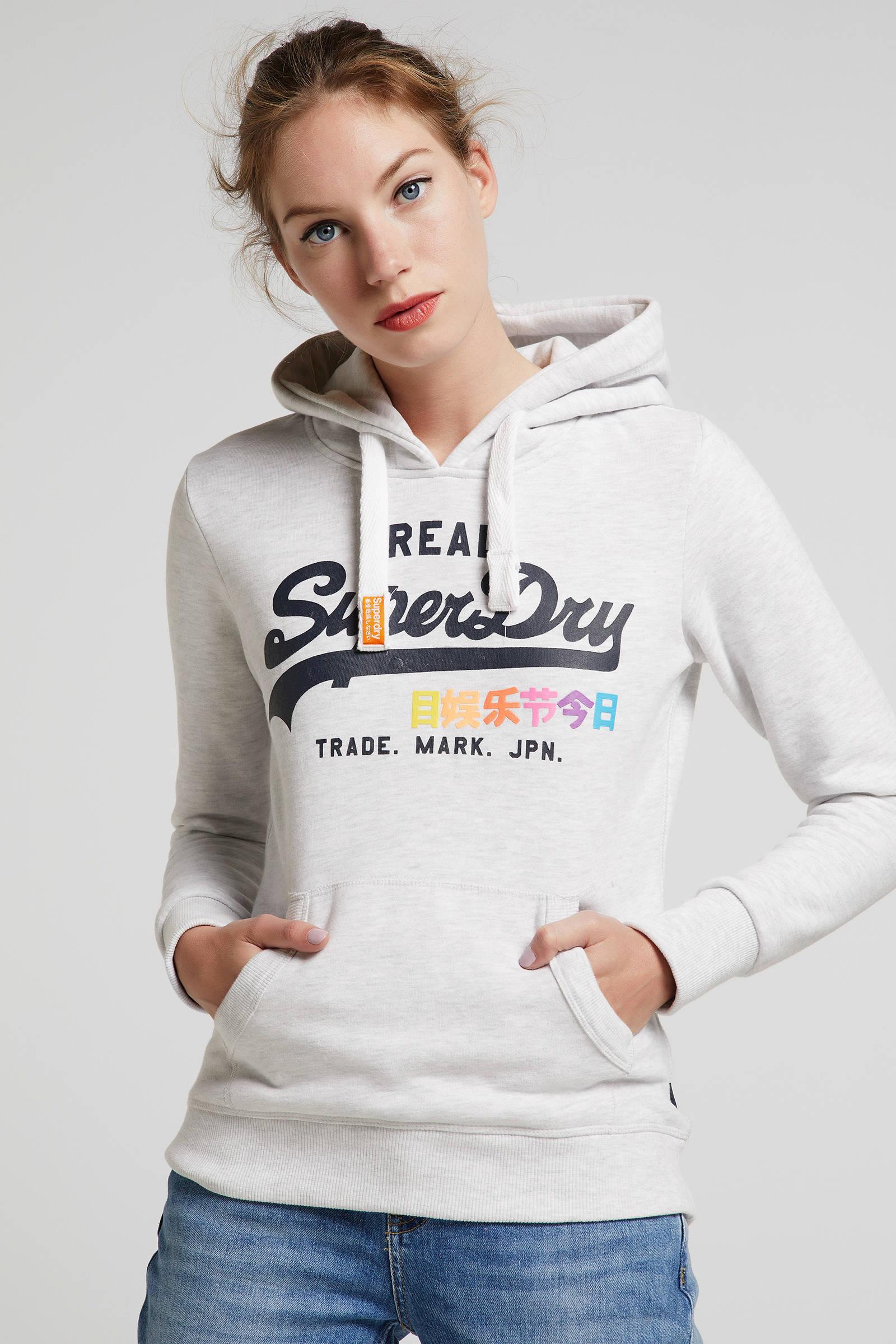 Superdry trui met logo grijsdonkerblauw | wehkamp