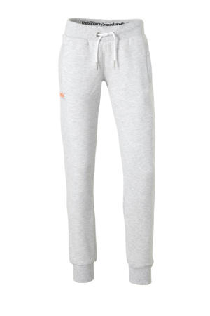 slim fit joggingbroek grijs/oranje