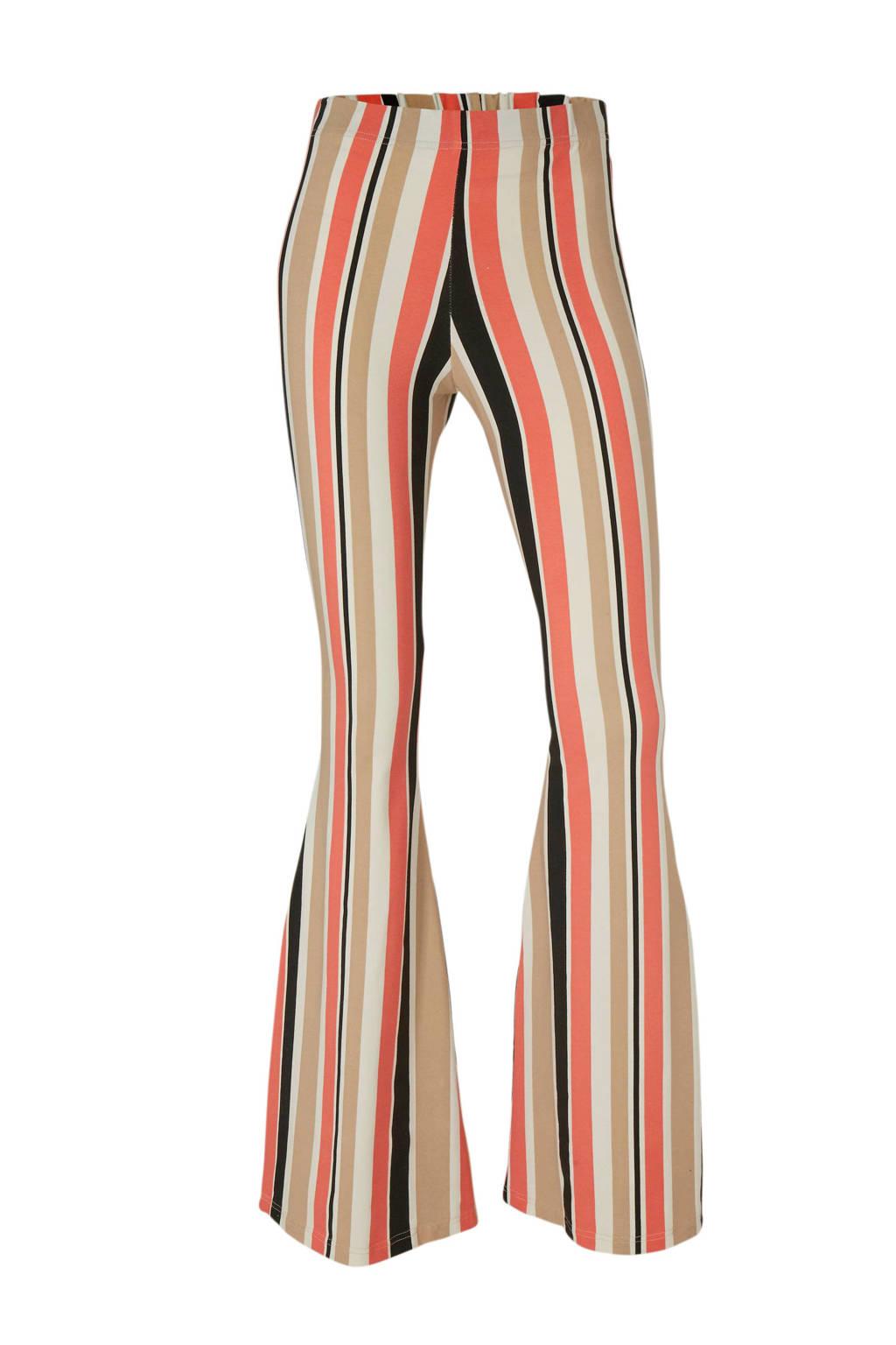 x Maan gestreepte flared broek beige/oranje/zwart, Beige/oranje/zwart