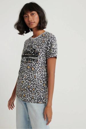 T-shirt met panterprint grijs