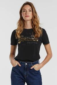 Superdry T-shirt met printopdruk en pailletten zwart, Zwart