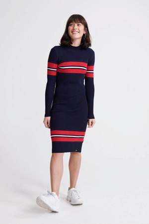 ribgebreide jersey jurk donkerblauw